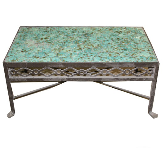 Coffee Table with Blue Tile