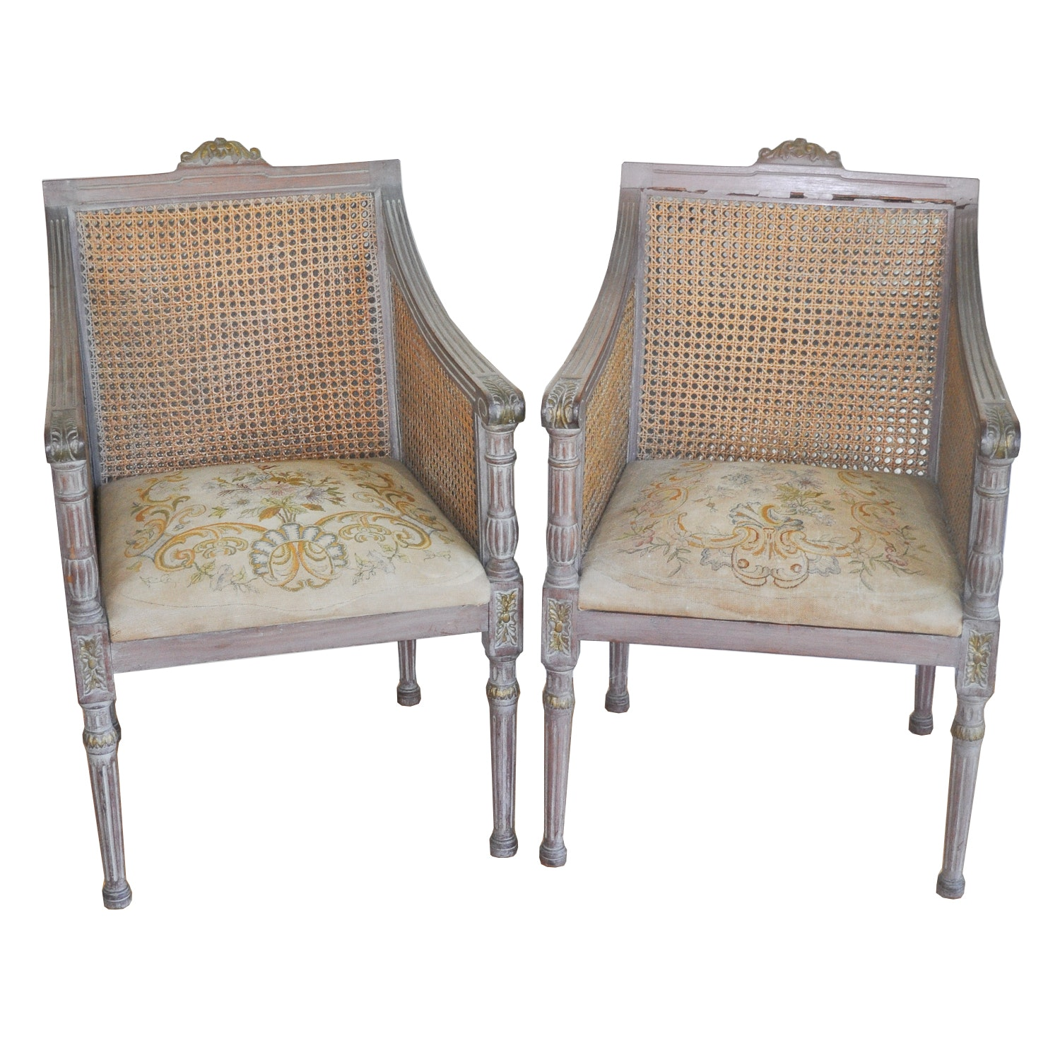 Pair Of Louis XVI Provincial Caned Armchairs