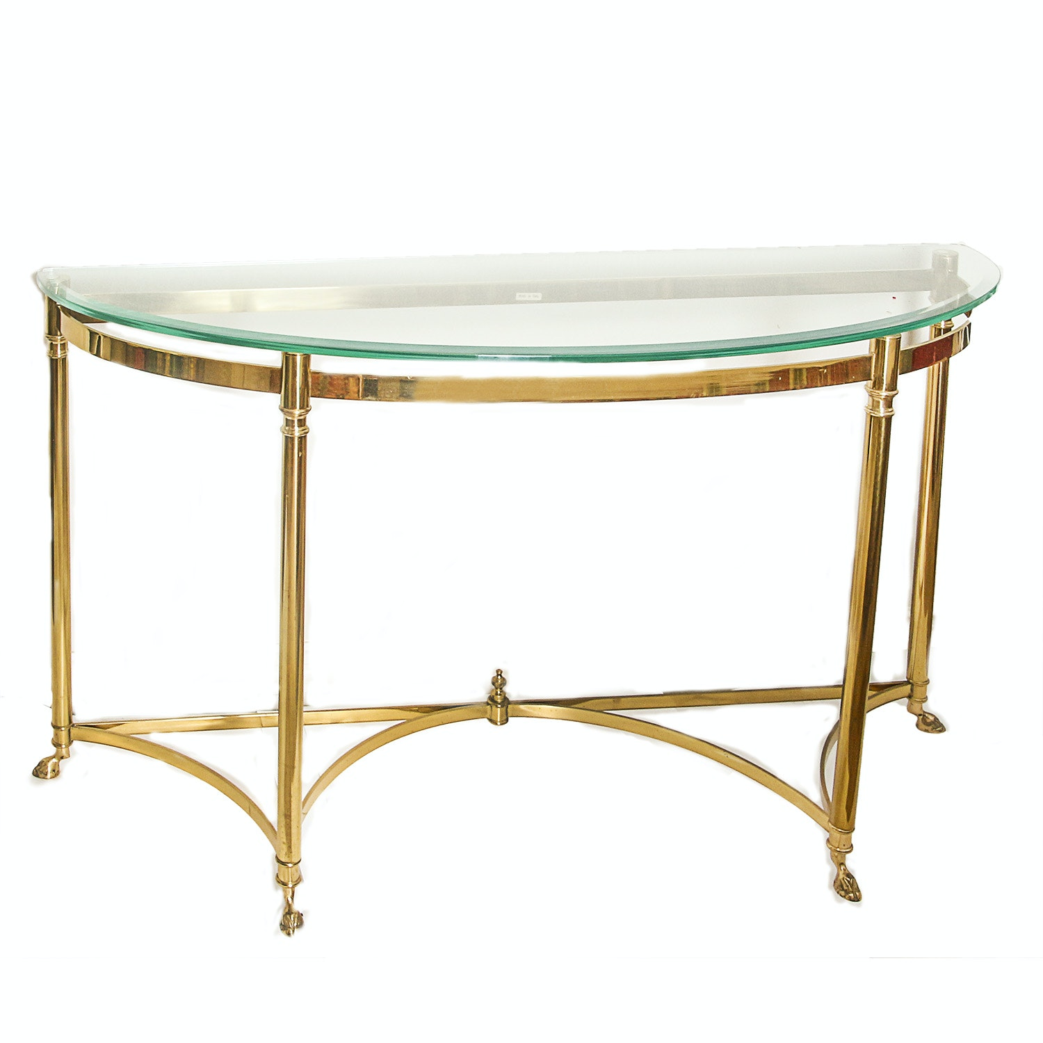 Glass Top Demilune Console Table