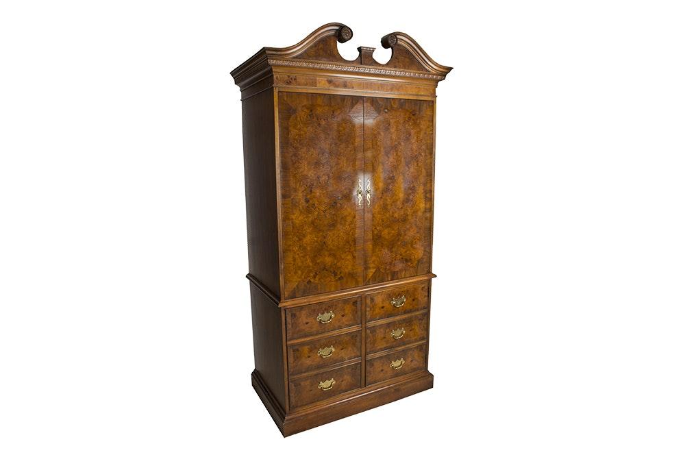 Burled Wood Veneer Media Armoire by Hekman
