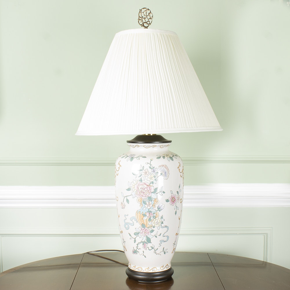 Floral Ceramic Table Lamp with White Shade