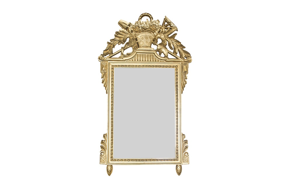 Ornate Gilt Wood Wall Mirror with Botanical Motif