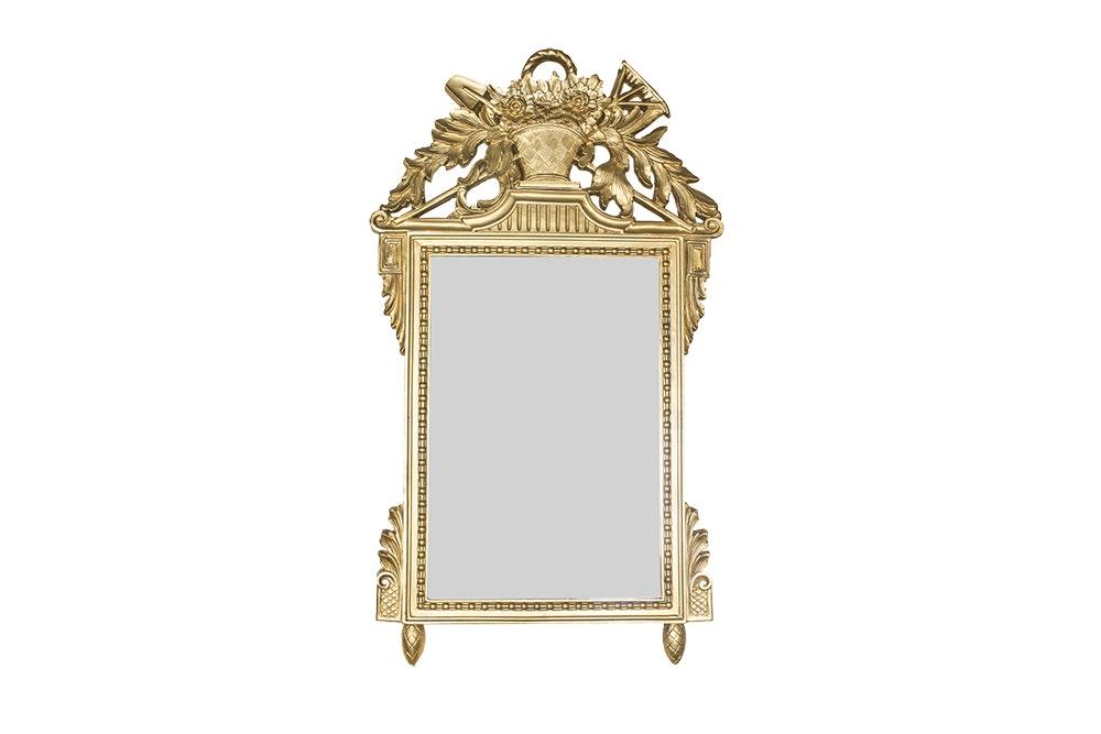 Ornate Gilt Wood Wall Mirror with Botanical Motif