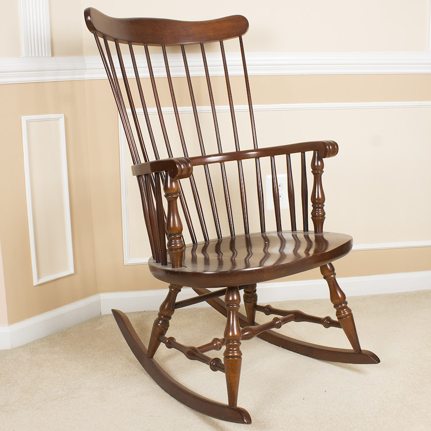 Swell Bow Back Windsor Style Rocking Chair By Virginia House Furniture Machost Co Dining Chair Design Ideas Machostcouk