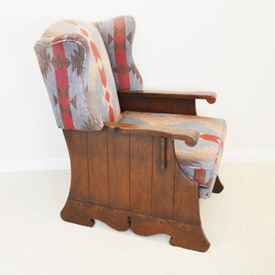 Vintage Romweber Viking Oak Wood Panel Wing Chair