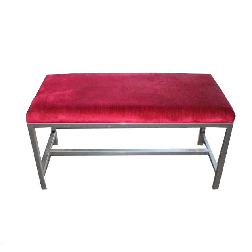 Modernist Metal Bench With Red Cushion Ebth