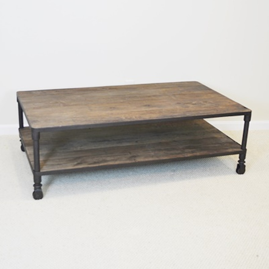 Restoration hardware dutch industrial reclaimed elm coffee table ebth Restoration coffee tables