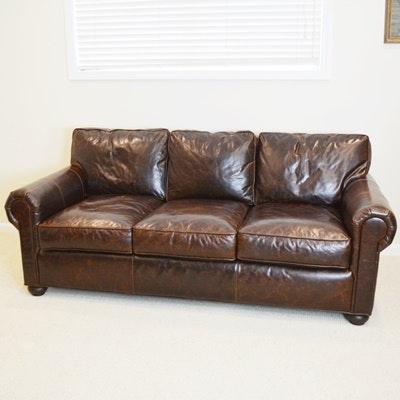 Restoration Hardware Original Lancaster Leather Sofa Ebth