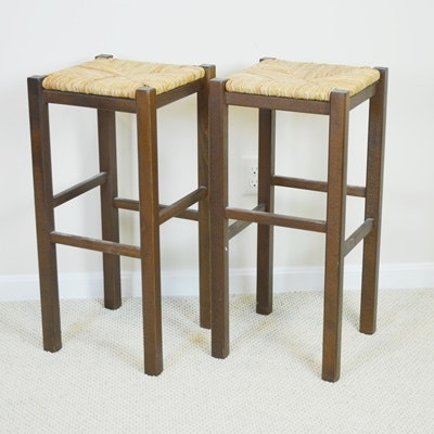Wood Barstools With Rush Seats