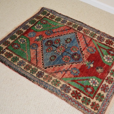 Hand-Knotted Anatolian Floral Wool Accent Rug