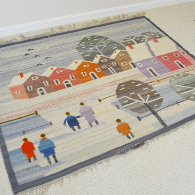 Vintage Handwoven Pictorial Winter Scene Area Rug