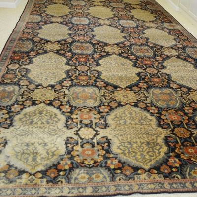 Fine Hand-Knotted Antique Lavar Kerman Wool Area Rug