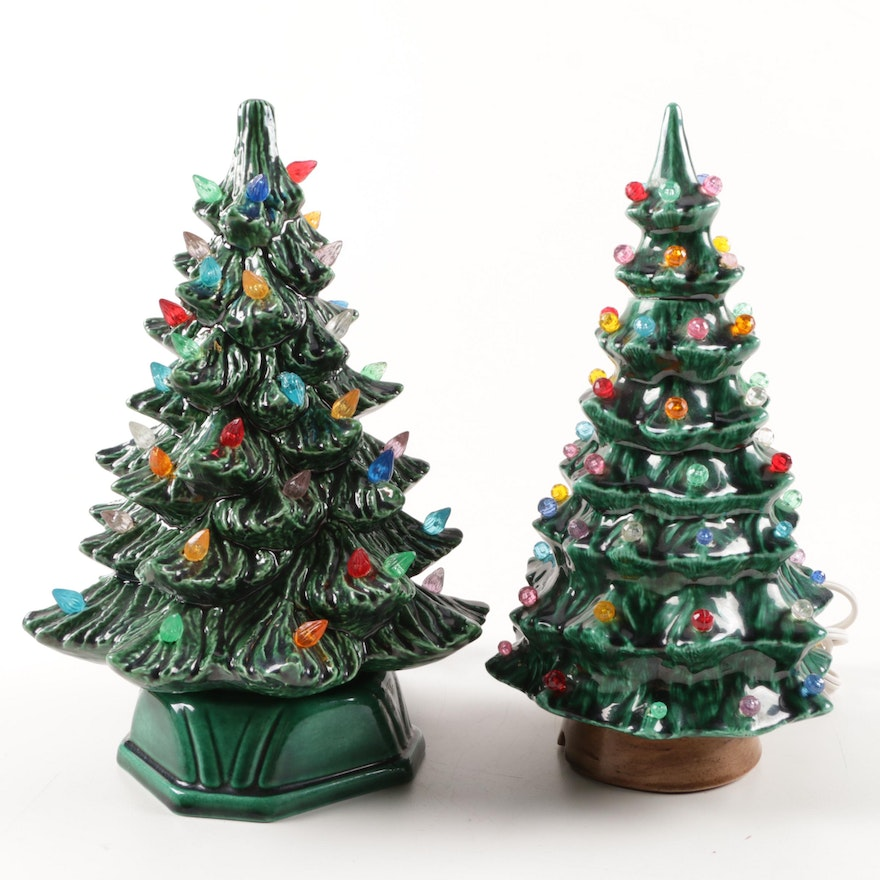 Pair Of Lighted Hand Painted Ceramic Christmas Trees
