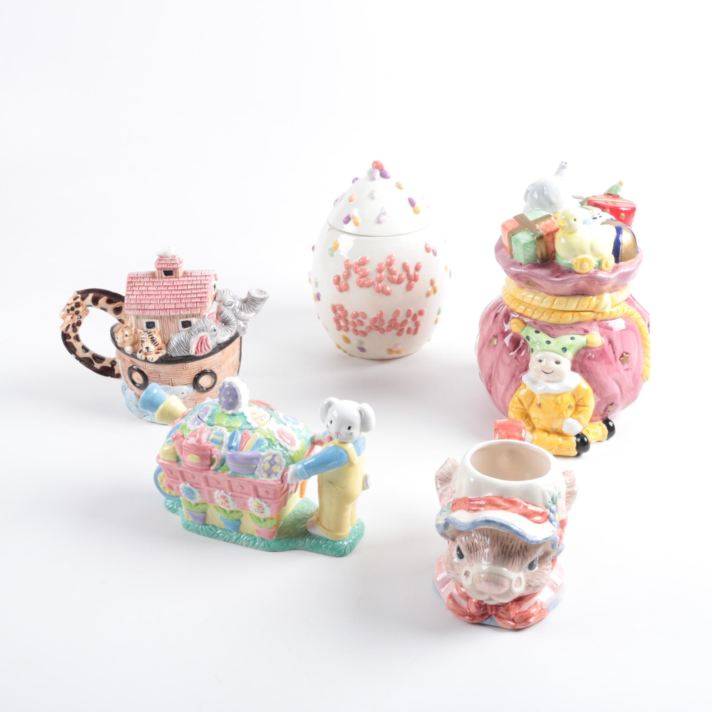Assorted Themed Ceramic Cookie Jars and Mug