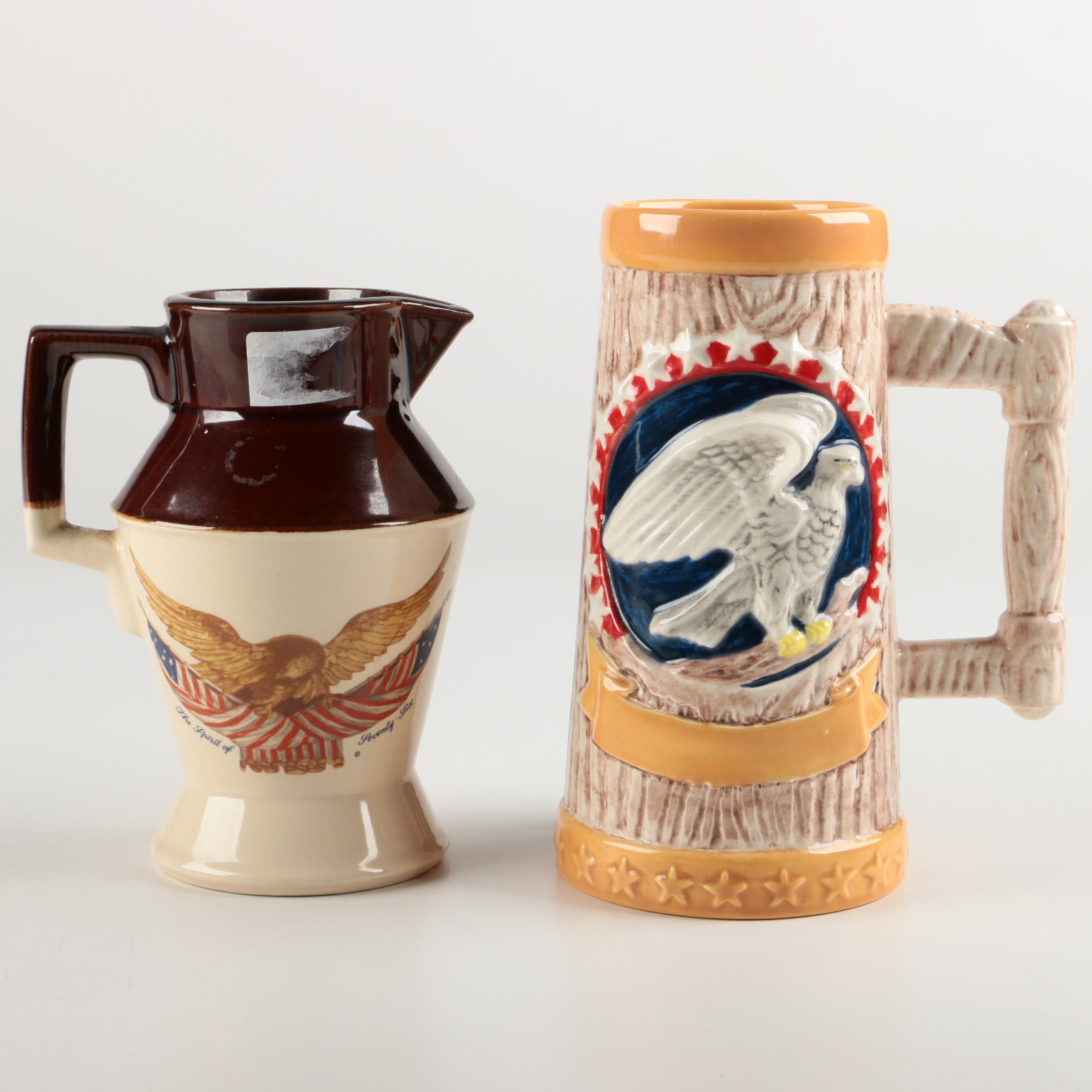 Ceramic Beer Stein and Pitcher