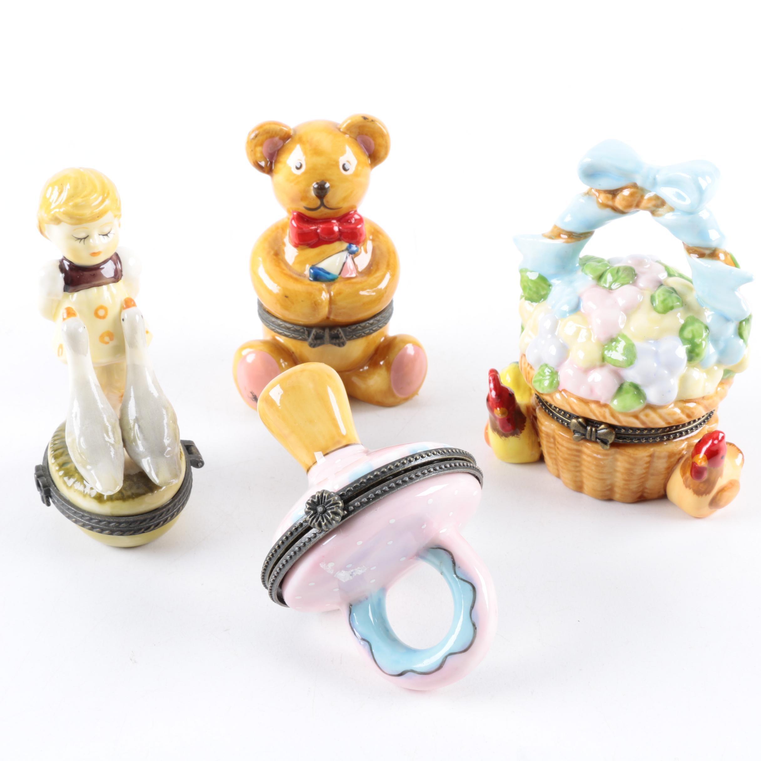 Porcelain Trinket Boxes Including Teddy Bear Box