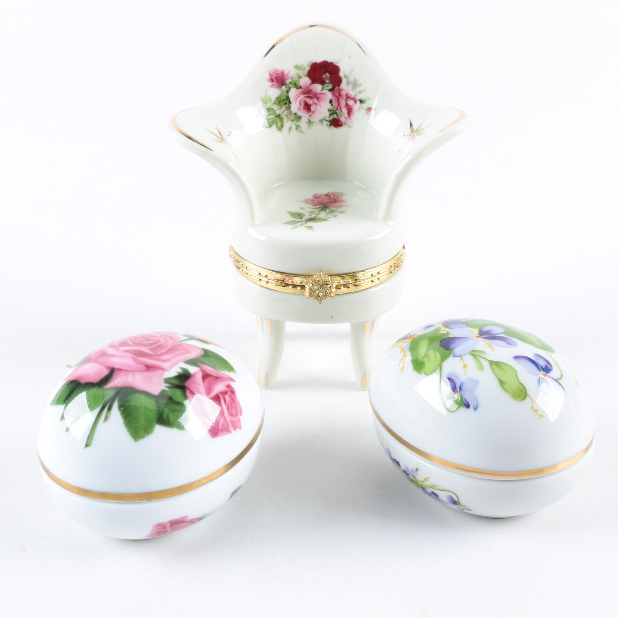 Porcelain Trinket Boxes Including The Danbury Mint