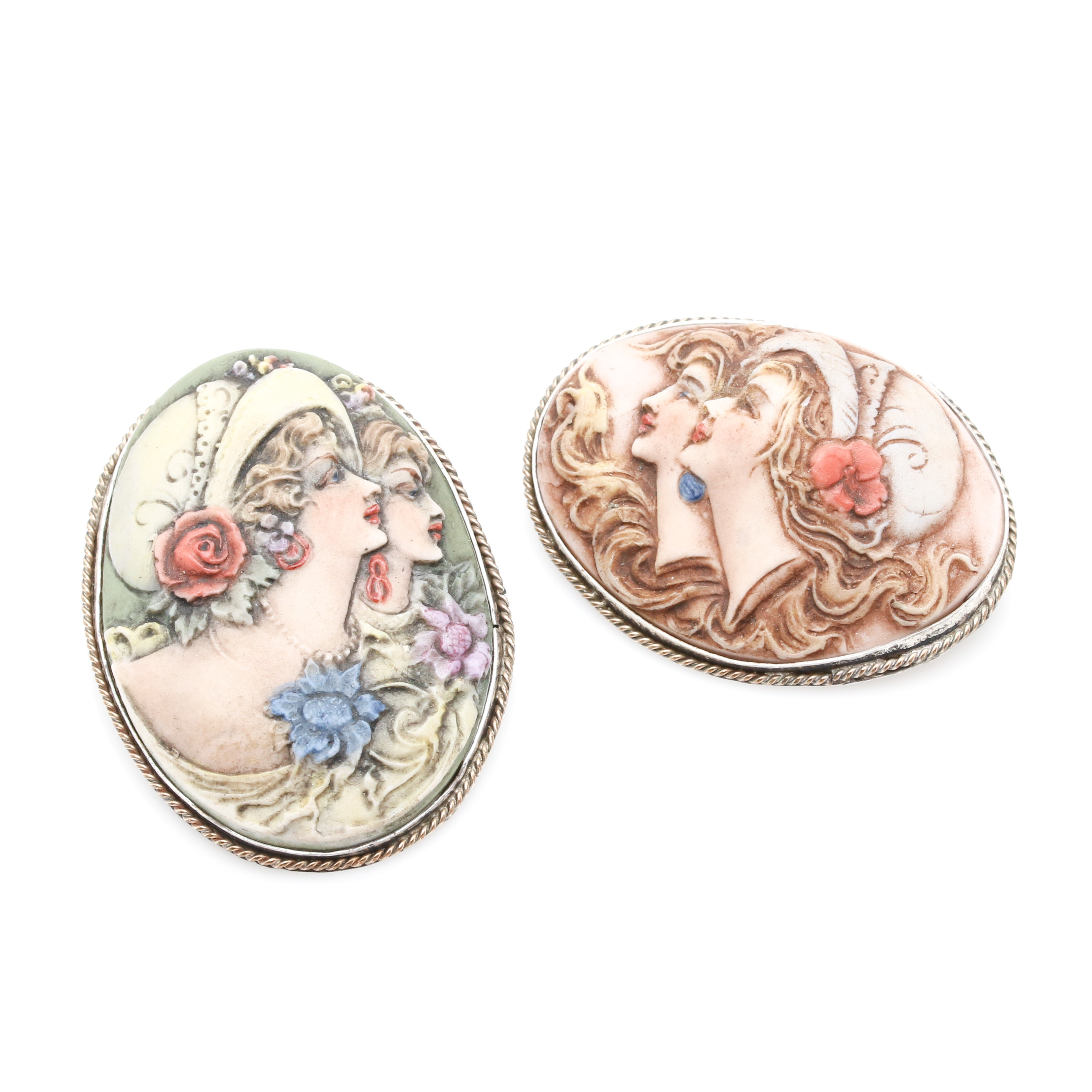 Sterling Silver Porcelain Cameo Converter Brooches
