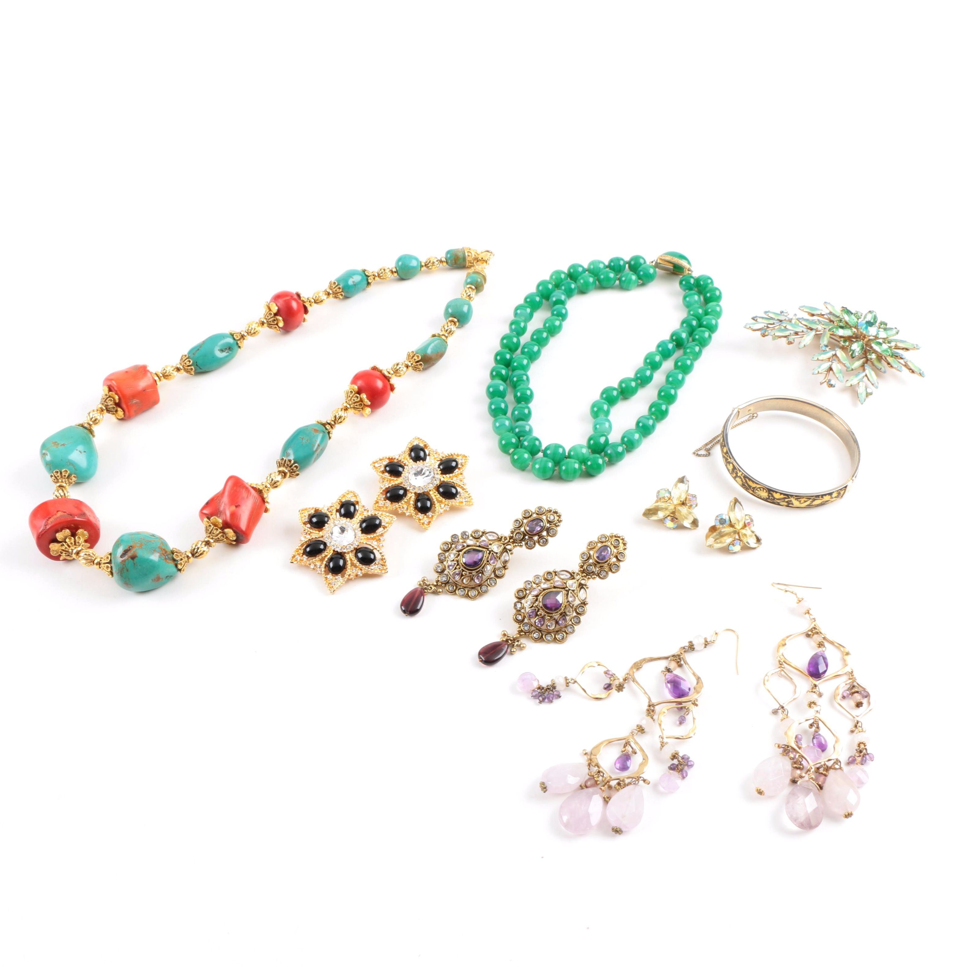 Assorted Costume Jewelry Including a Turquoise and Coral Necklace