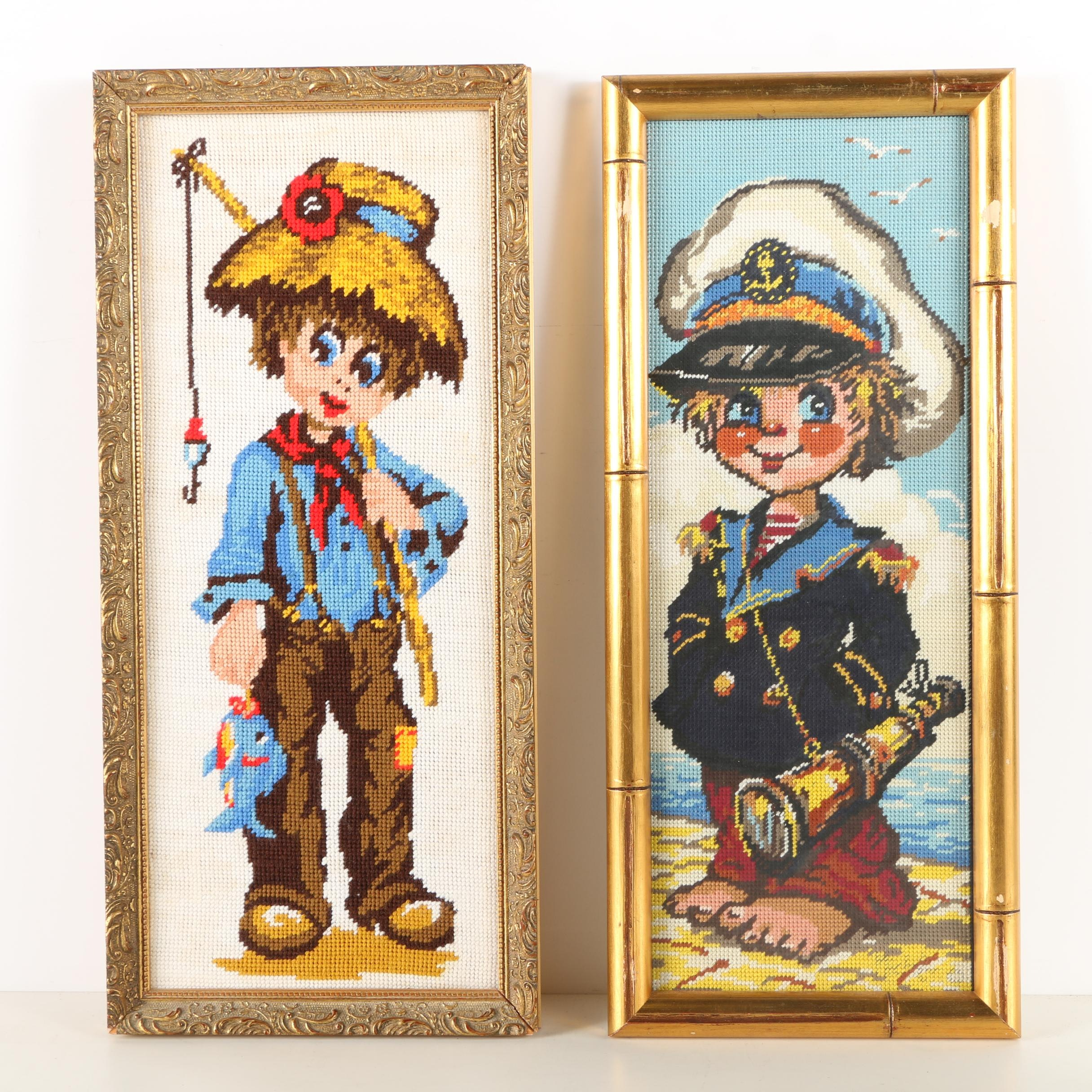Framed Needlepoints of Two Young Boys