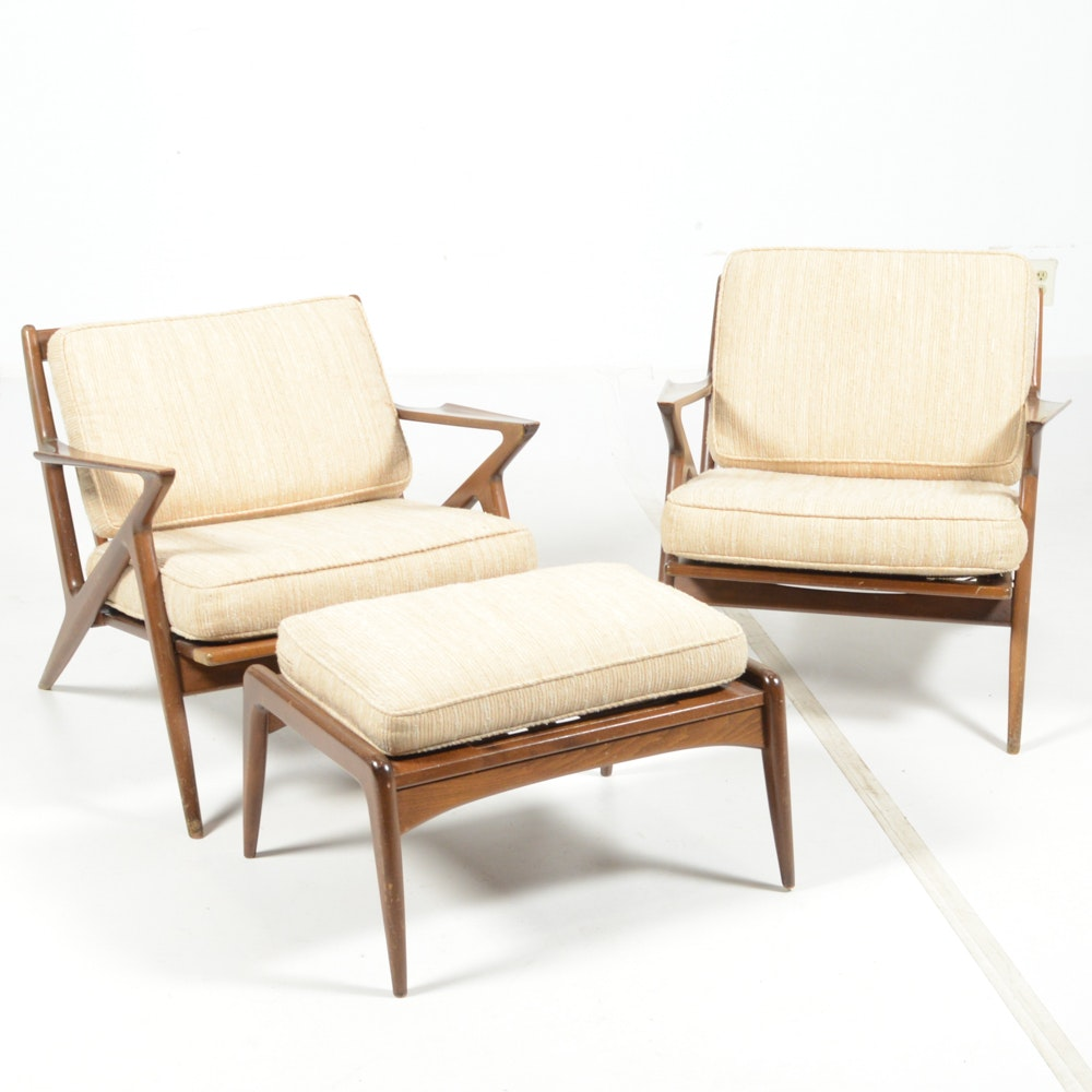Poul Jensen Danish Modern Z Style Arm Chairs and Ottoman by Selig