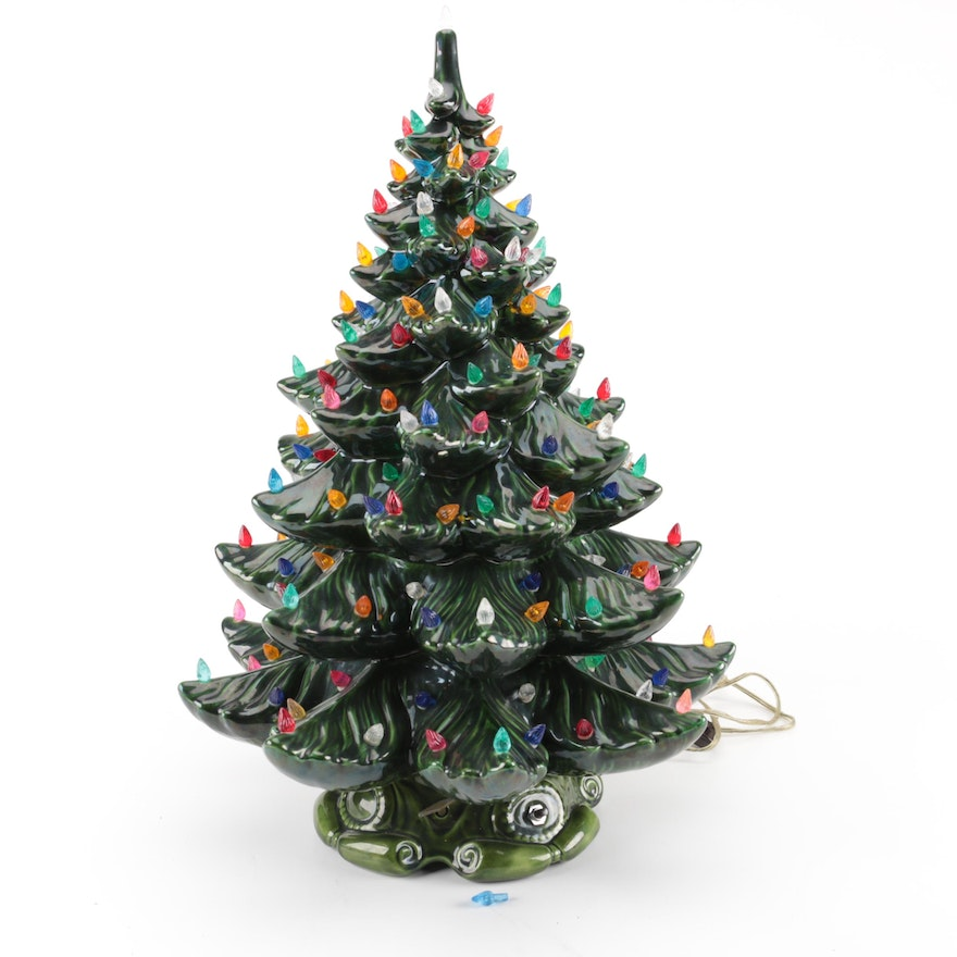 lighted green ceramic christmas tree with music box - Green Ceramic Christmas Tree With Lights