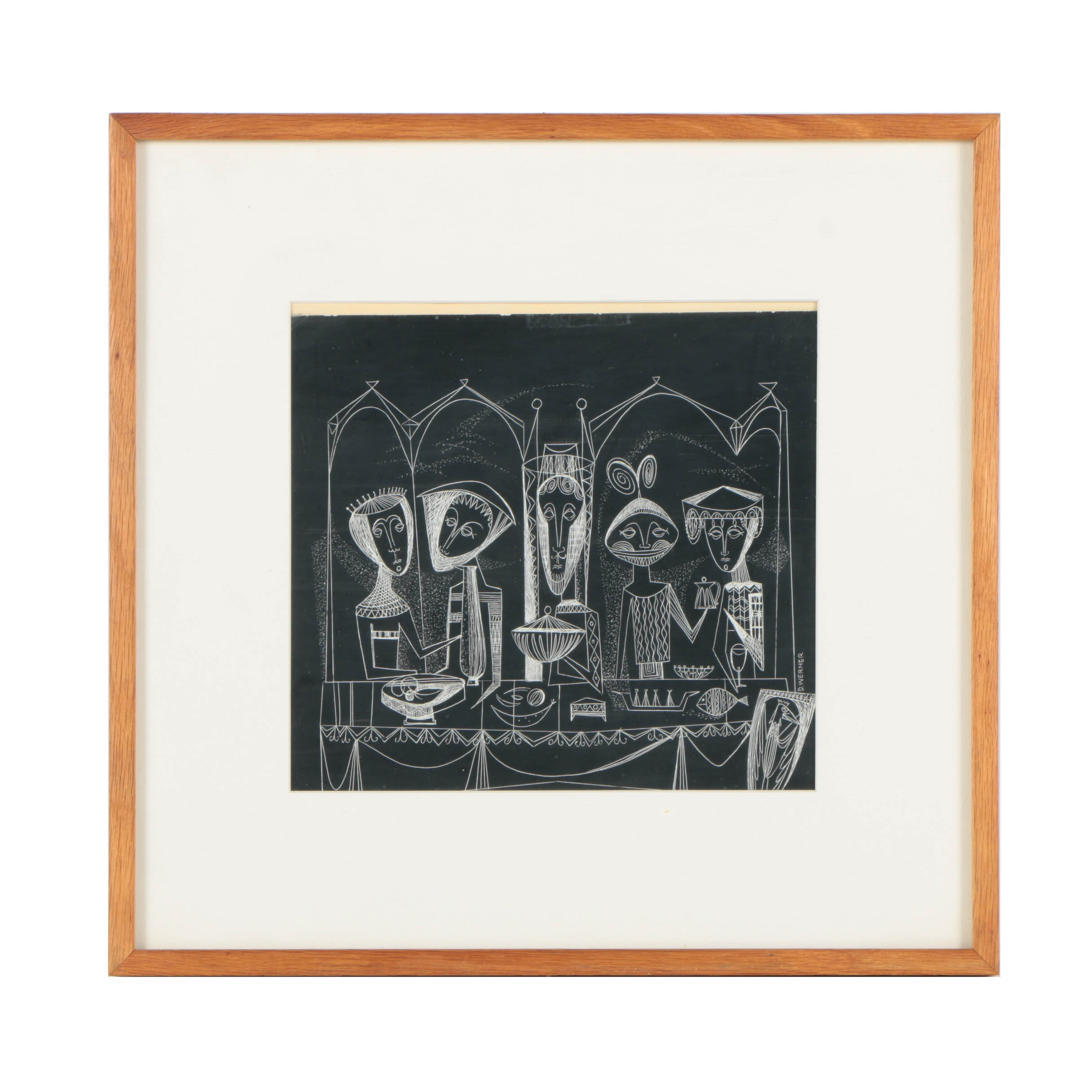 Don Werner Sgraffito Drawing on Paper of Figural Scene