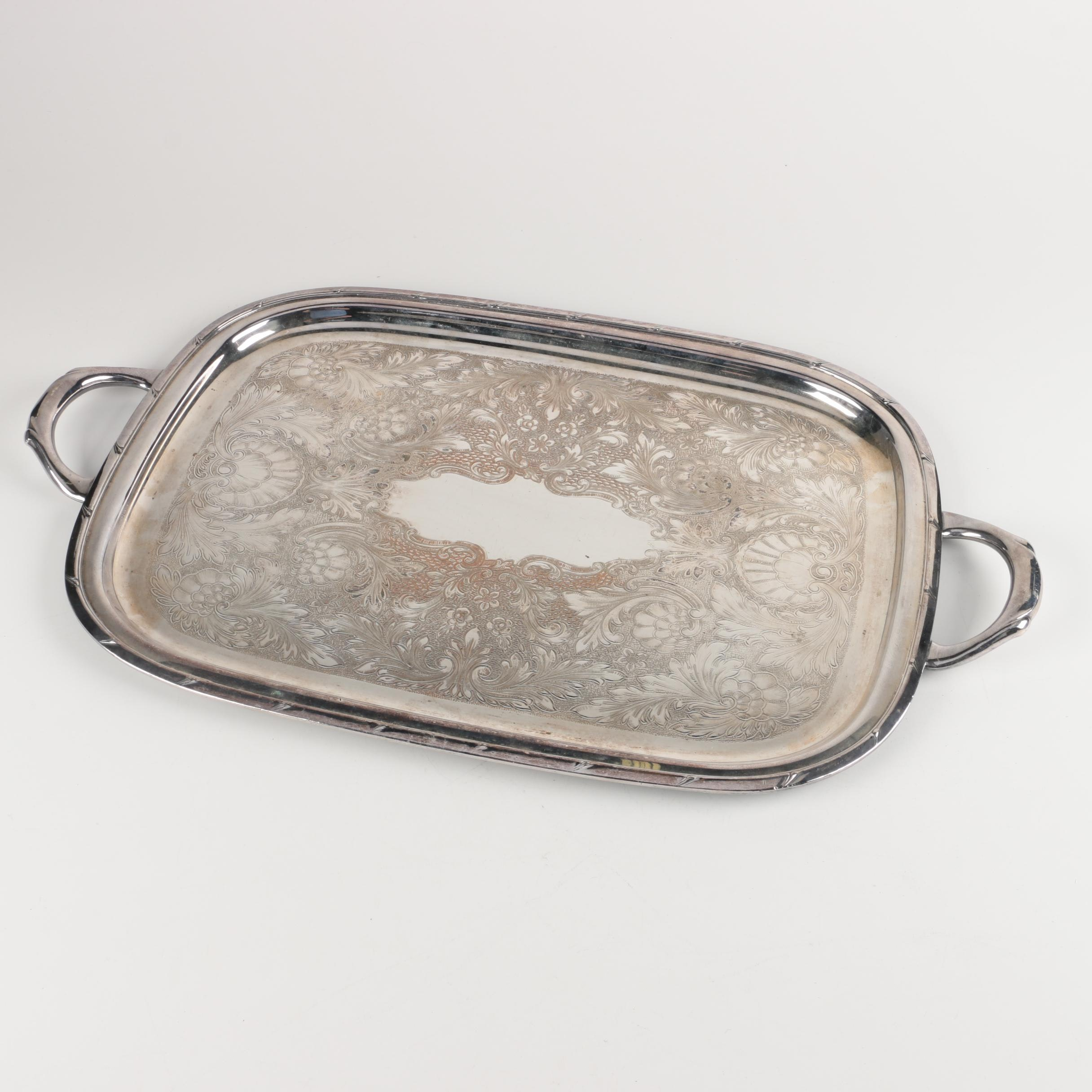 Large Silver Plated Serving Tray