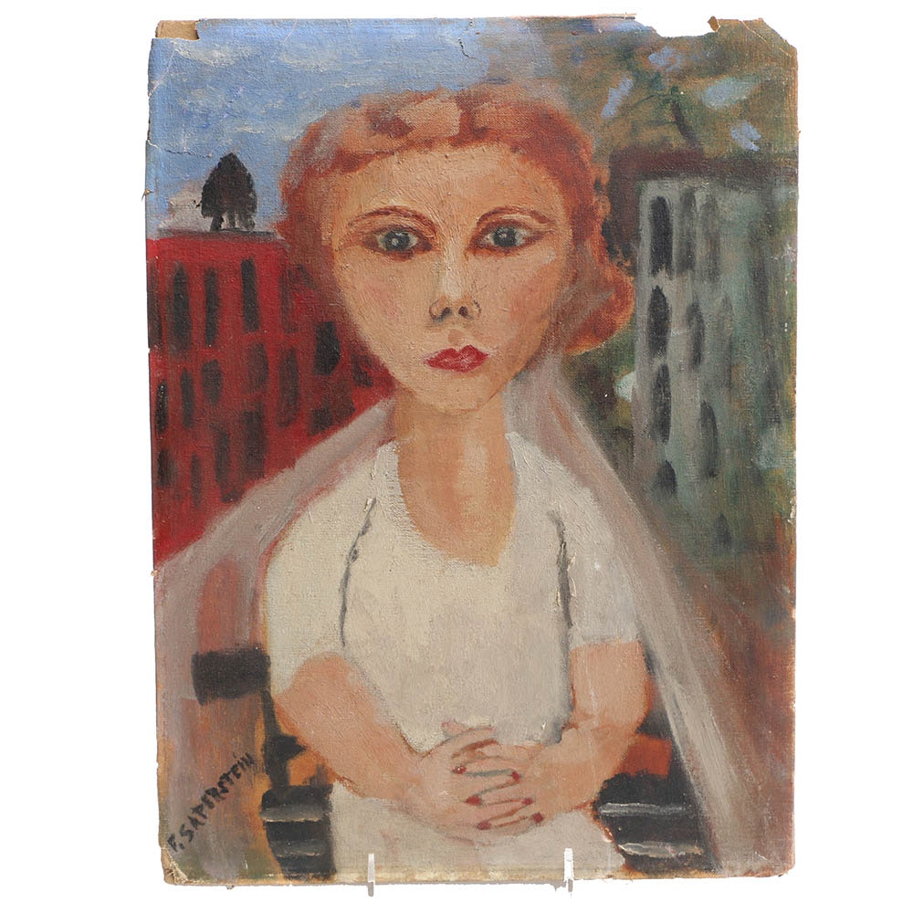 Fannie Saperstein Oil Painting of a Woman in the City