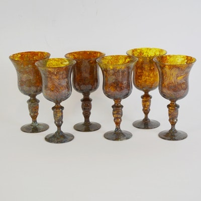 Mottled Amber Blown Glass Wine Glasses