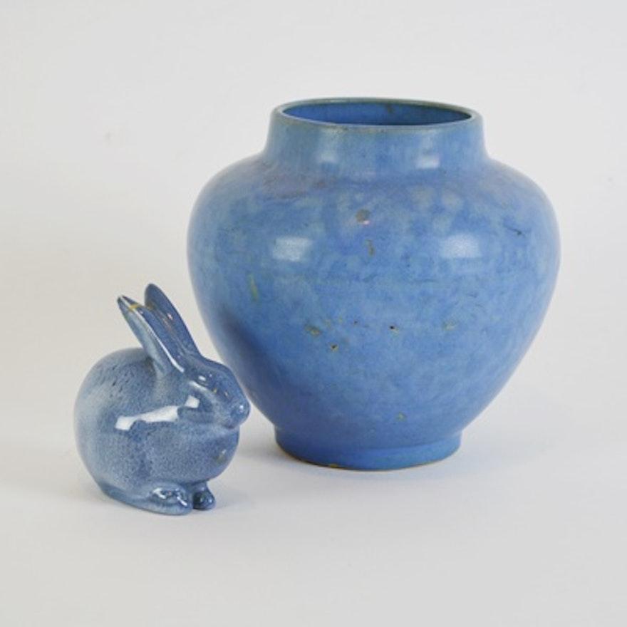 1960 Rookwood Pottery Rabbit And Mccoy Pottery Vase Ebth