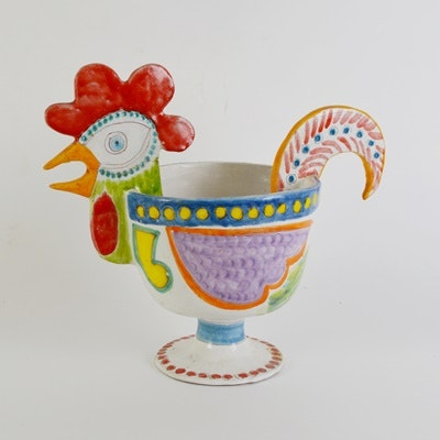 Italian DeSimone Pottery Rooster Centerpiece Bowl