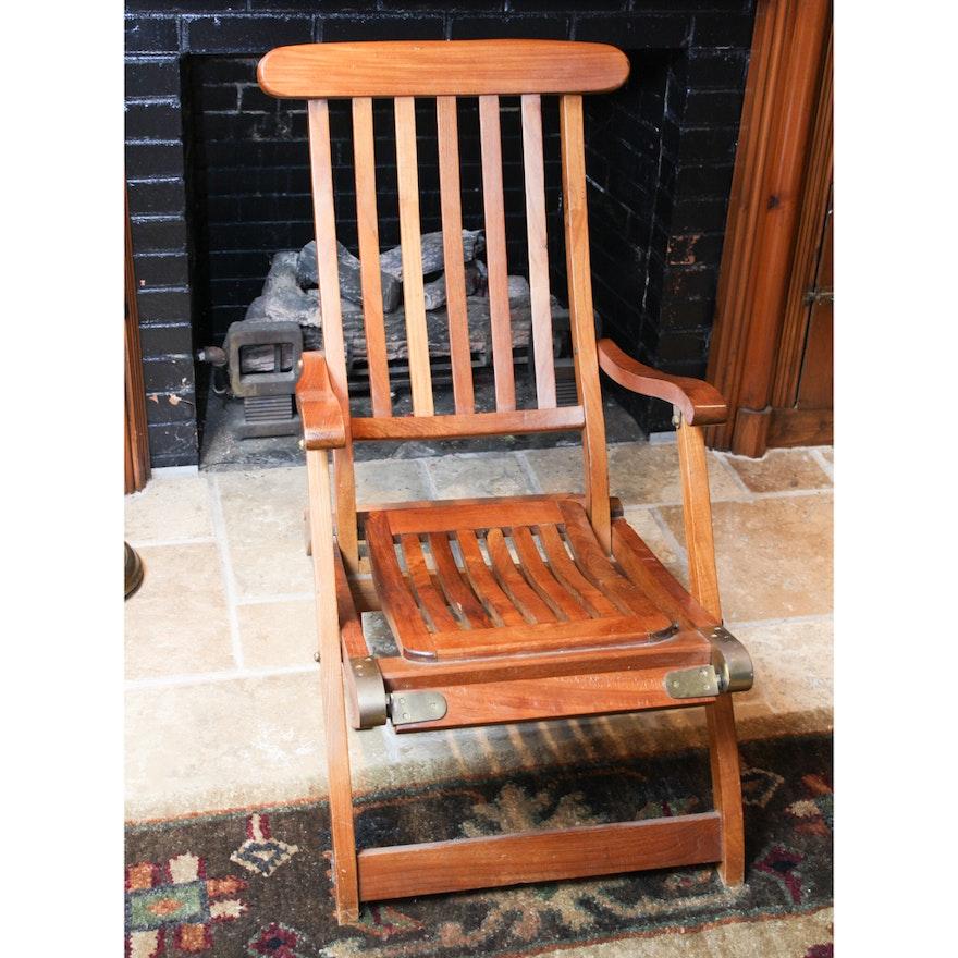 Antique Teakwood Deck Chair ... - Antique Teakwood Deck Chair : EBTH
