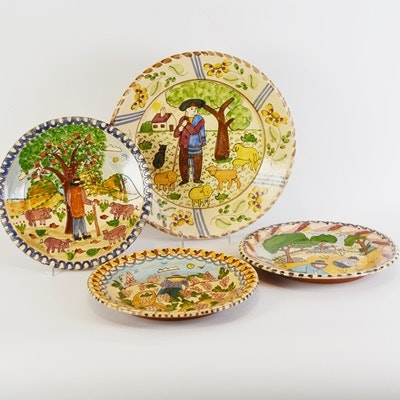 Portugal Pictorial Redware Plates and Platter by M. Beijinho and Pirraga Redondo