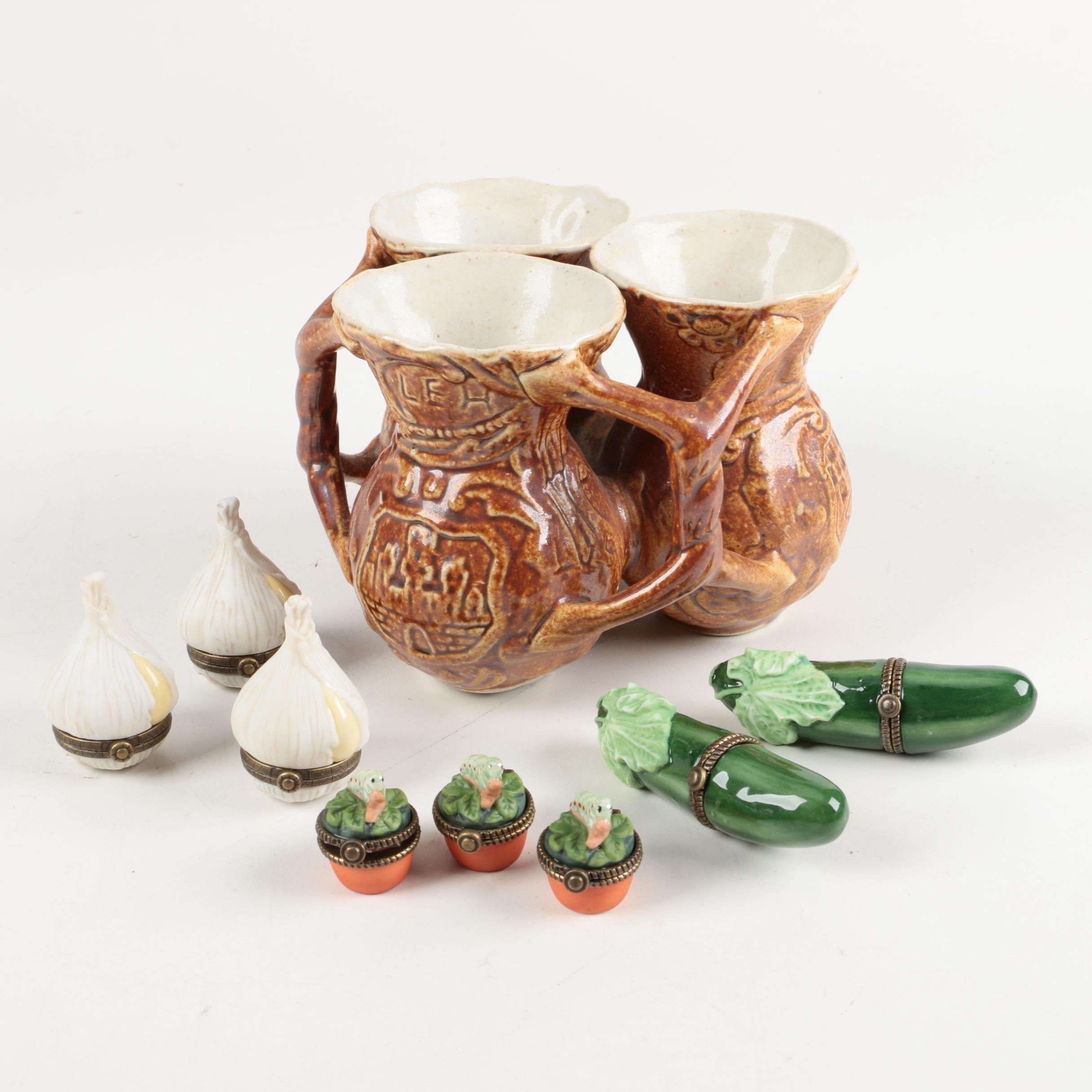 Vintage Ceramic Bilikum and Trinket Boxes