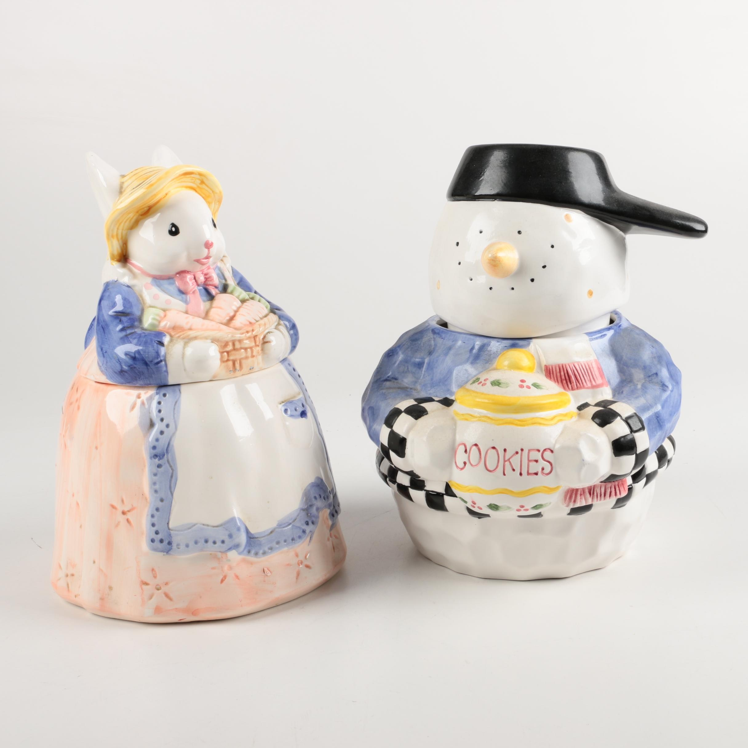 Rabbit and Snowman Ceramic Cookie Jars