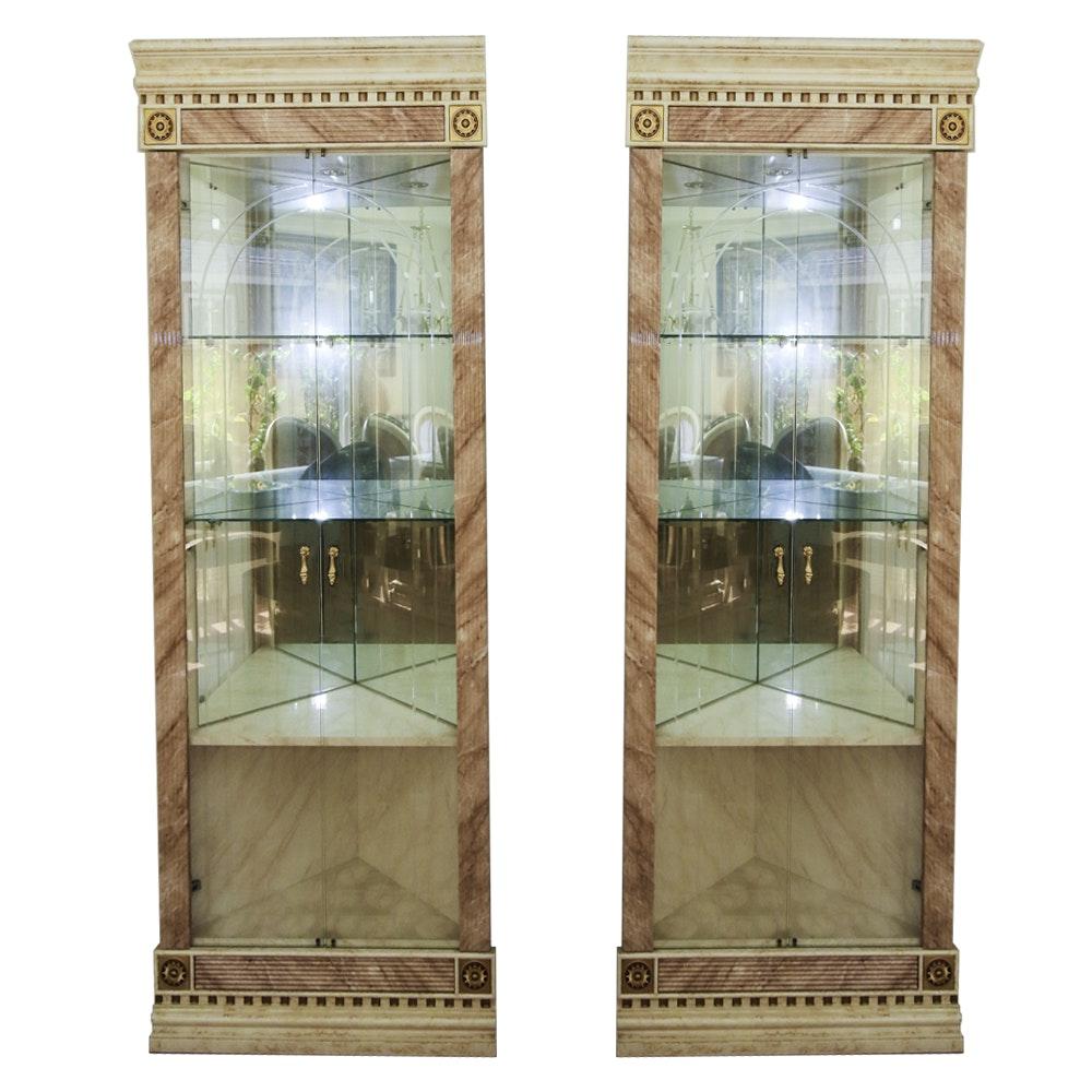 Pair of Versace Design Corner China Cabinets