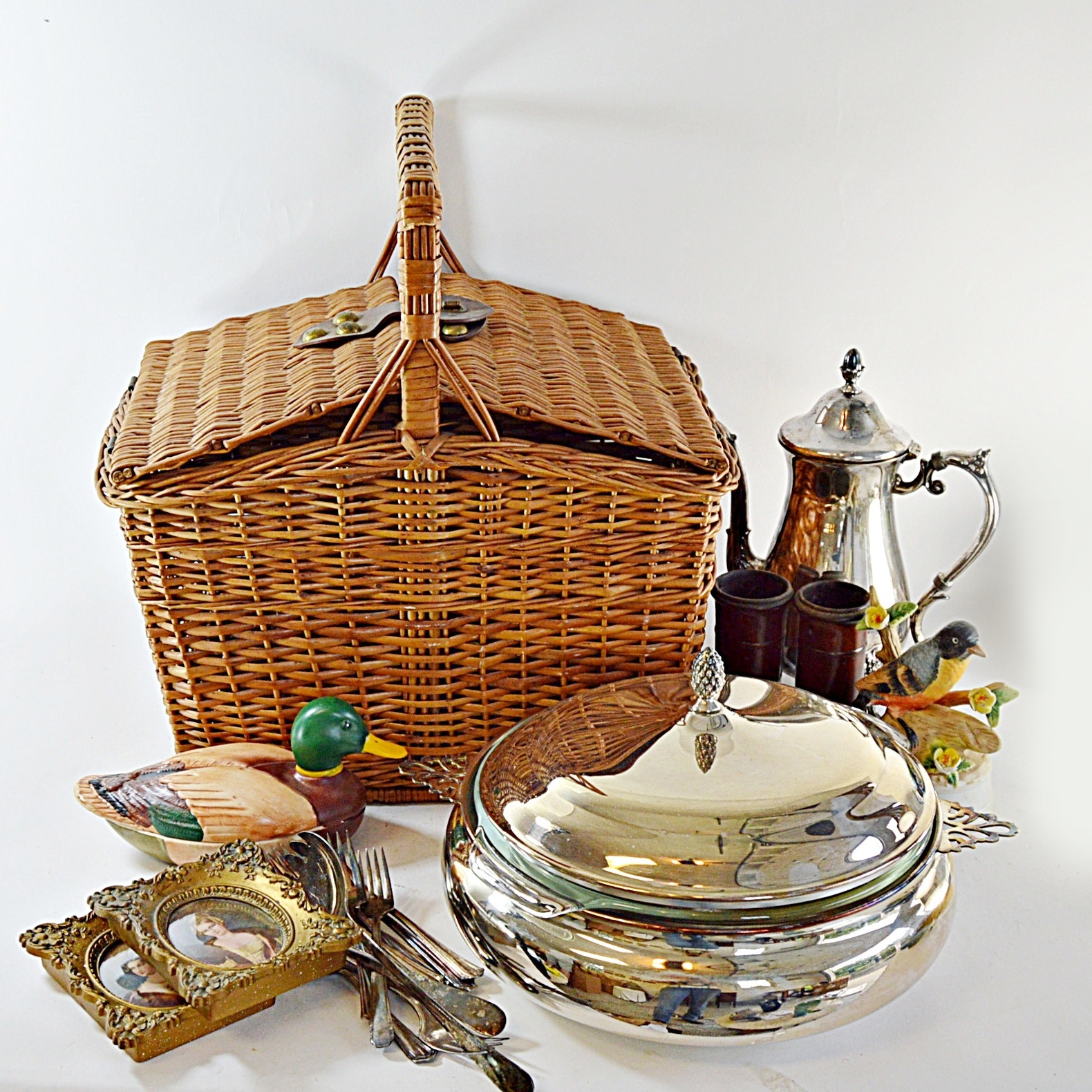 Silver Plate Serving Pieces, Collectibles and a Wicker Picnic Basket