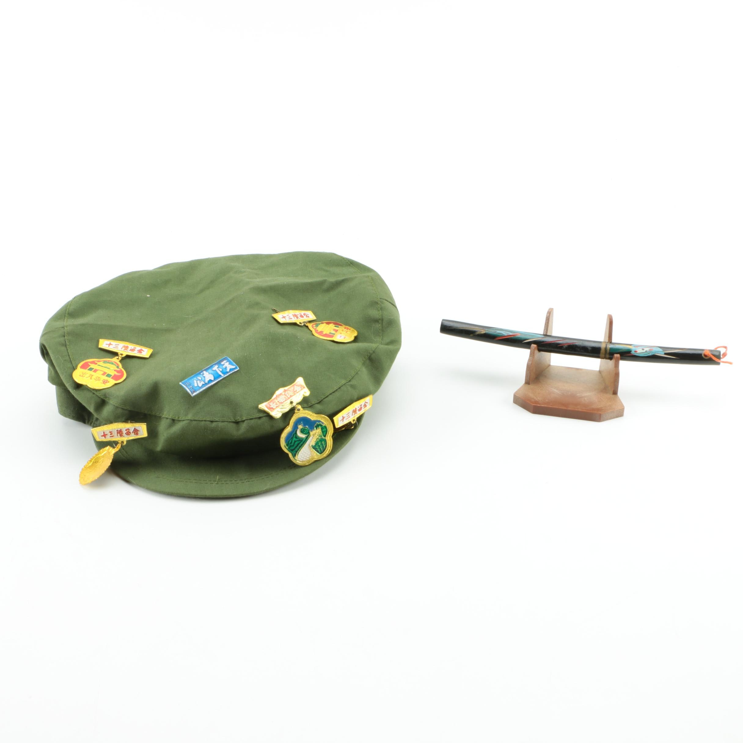 Oriental Style Letter Opener and Hat With Pins