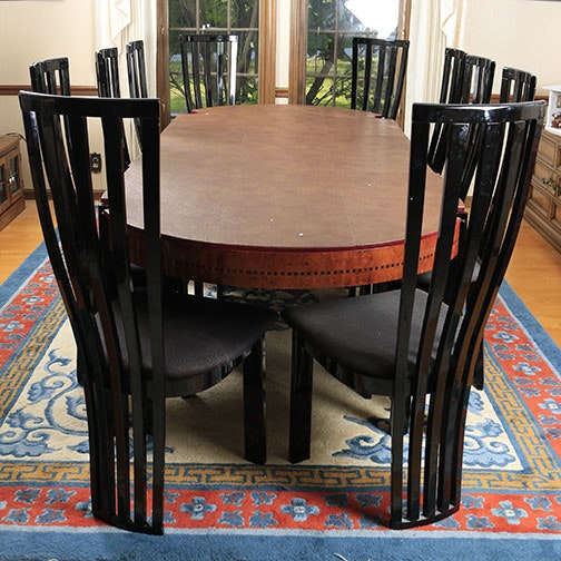 Italian Burled and Black Lacquered Dining Table with Six Chairs