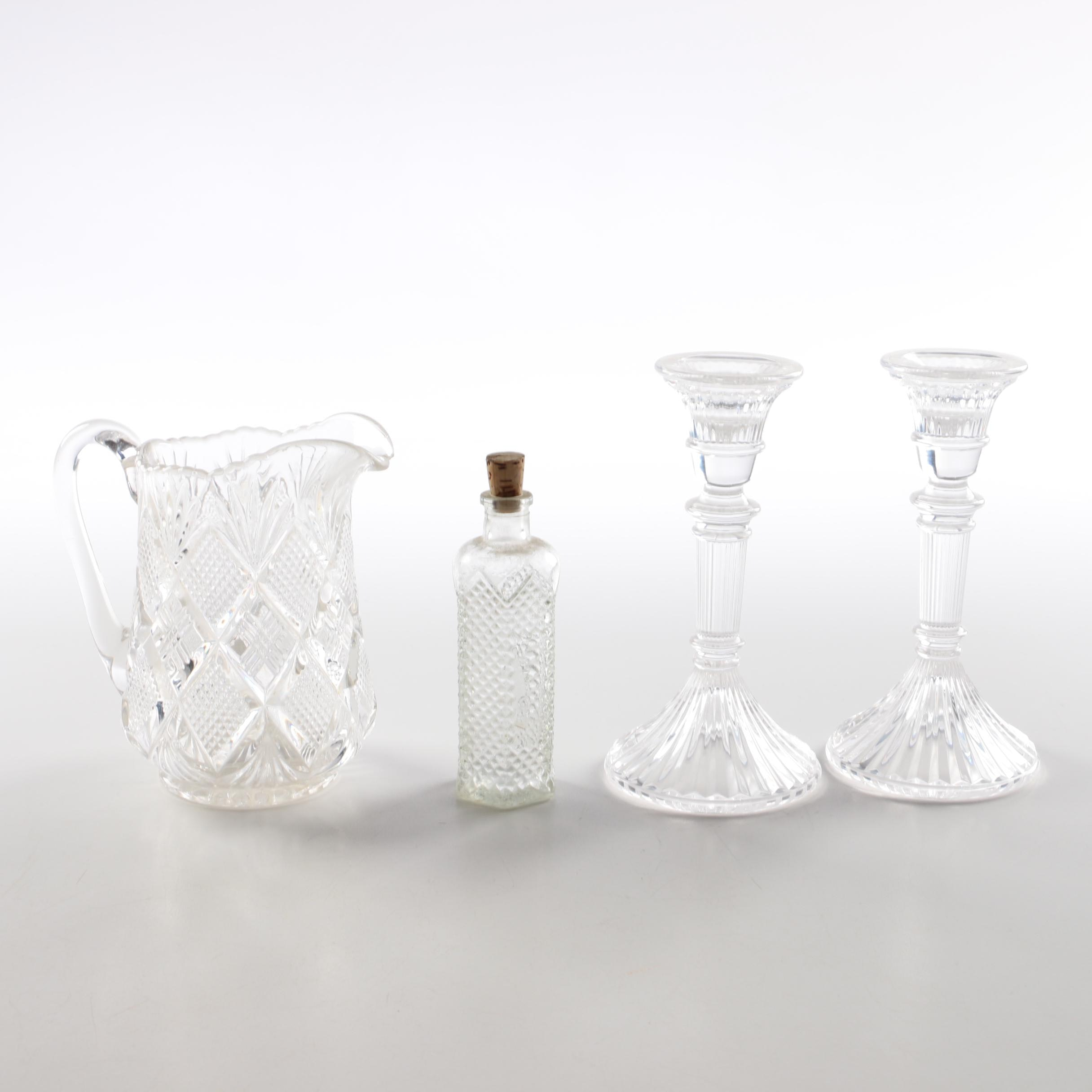 Cut Crystal Creamer Pitcher and Pressed Glass Décor