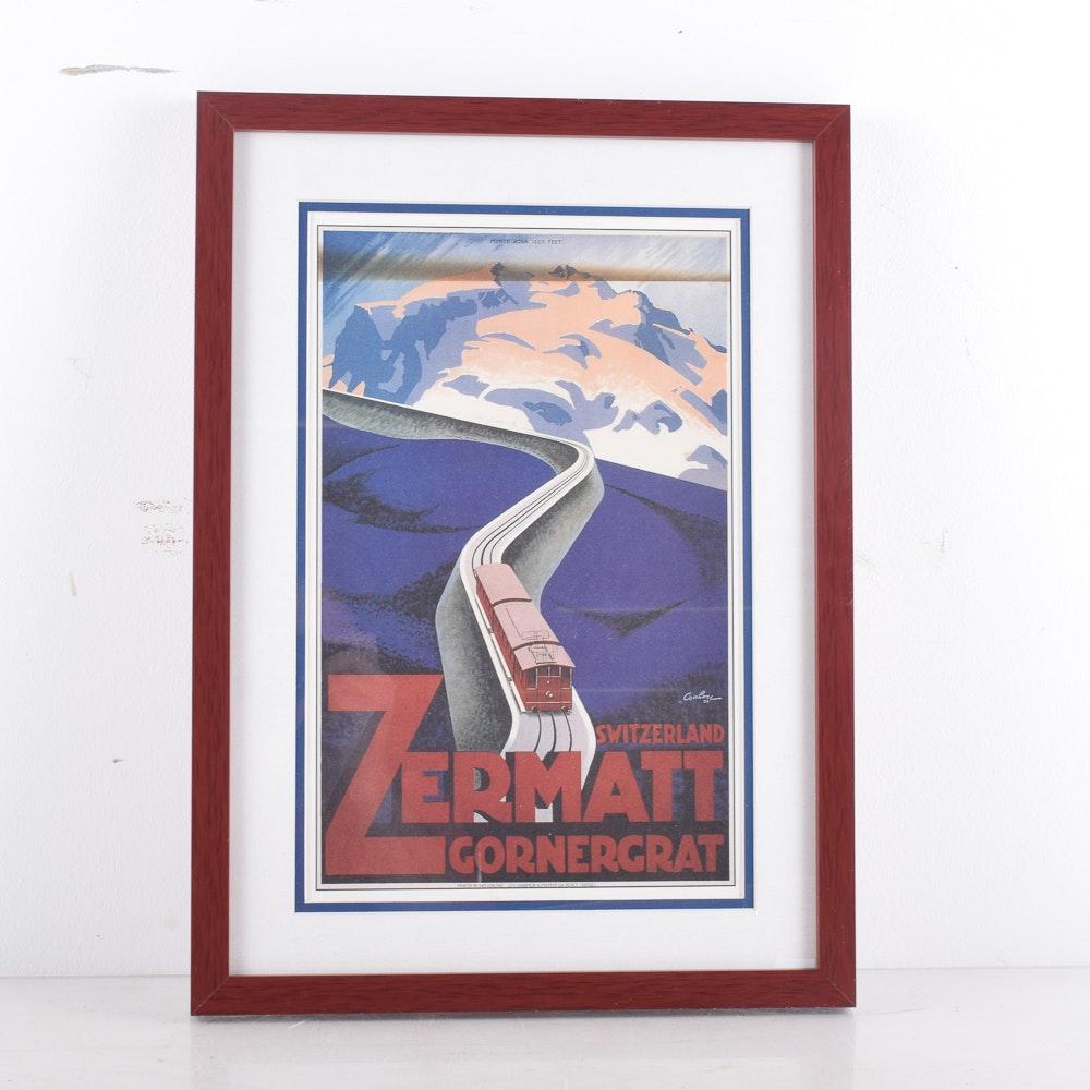 Offset lithograph After Eik Coulou's  Zermatt Switzerland Travel Poster