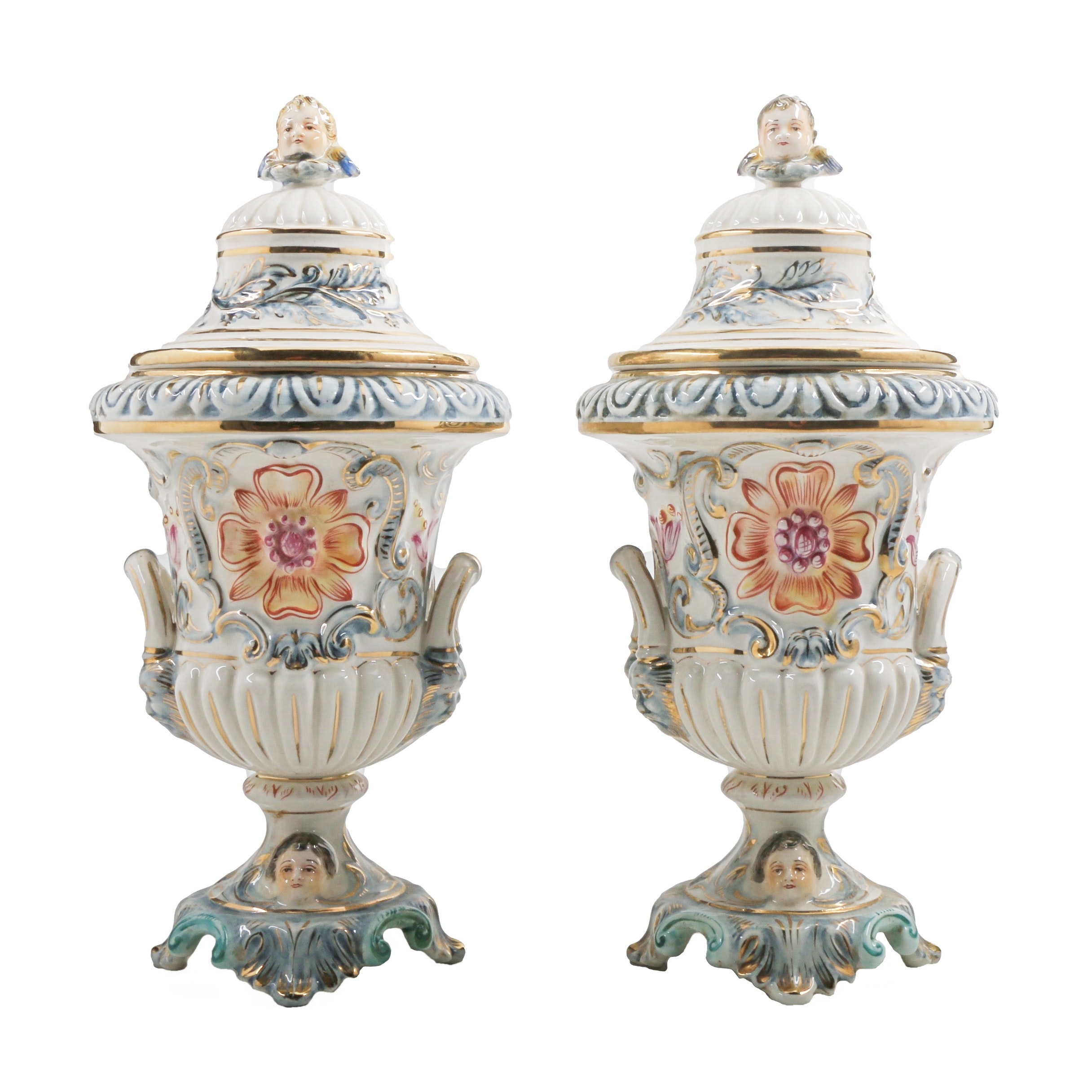 Capodimonte Porcelain Lidded Urns with Figural Handles