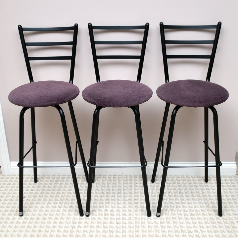 Three Metal Swivel Barstools by Amisco