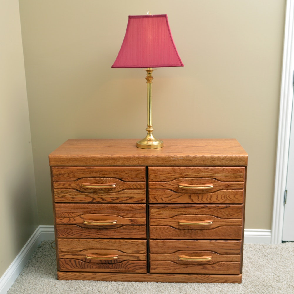 Vintage Oak Chest of Drawers and Table Lamp