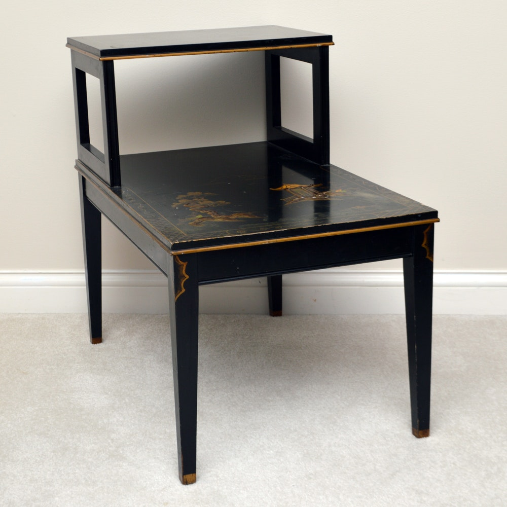 Vintage Black Lacquered Chinoiserie Two Tier End Table