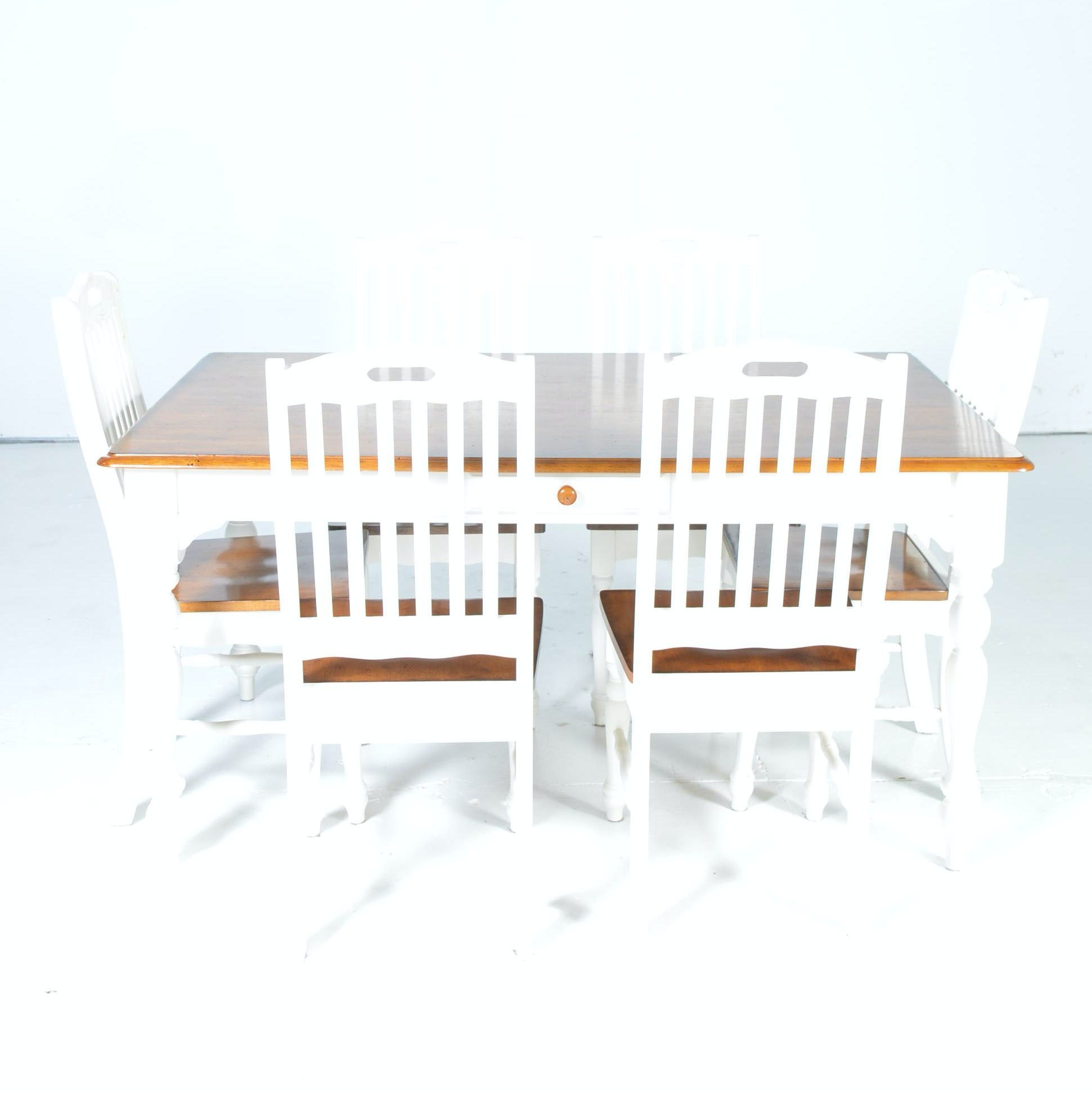 White Farmhouse Style Dining Table and Chairs