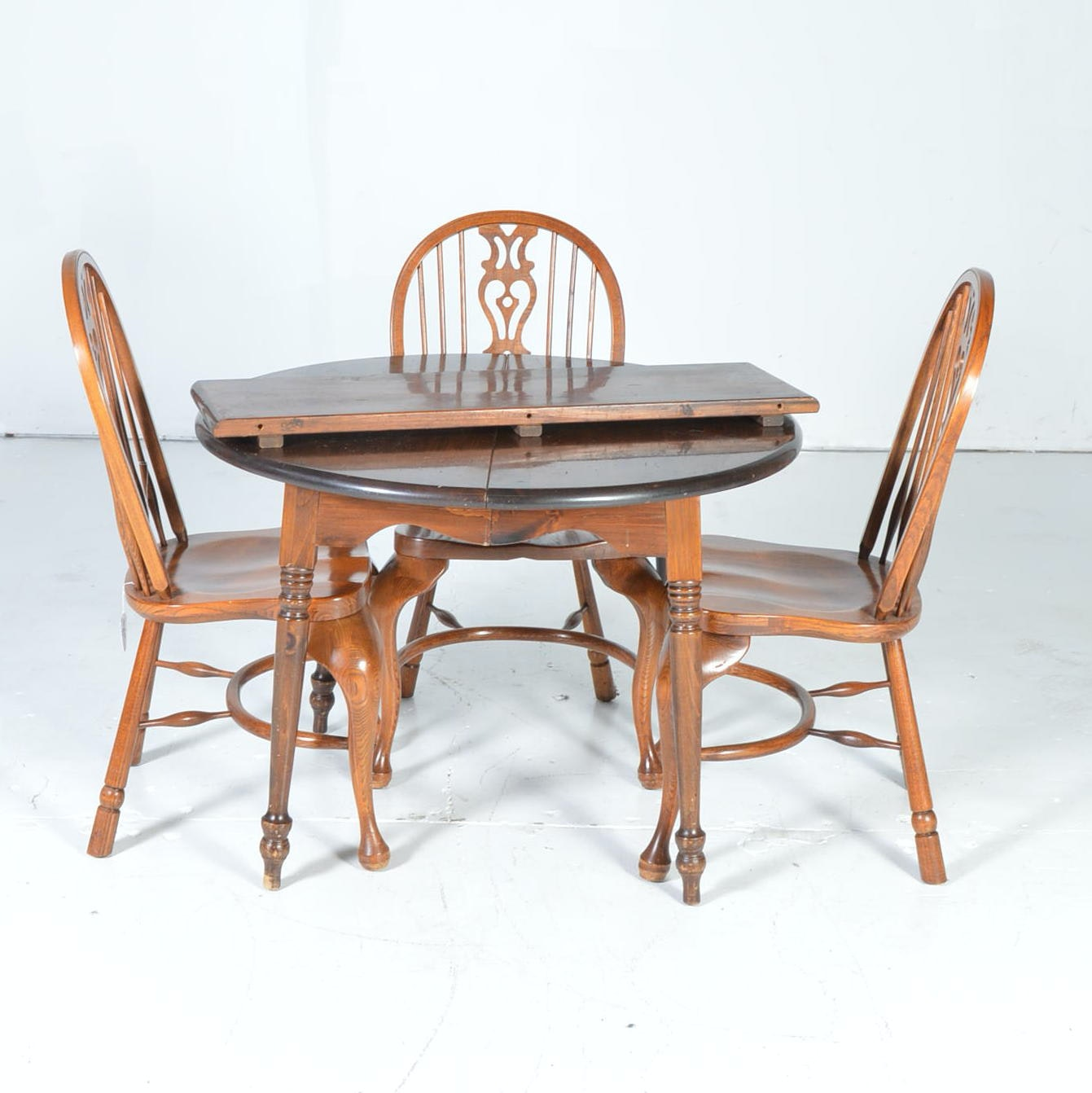 Dark Pine Table with Three Windsor Style Chairs