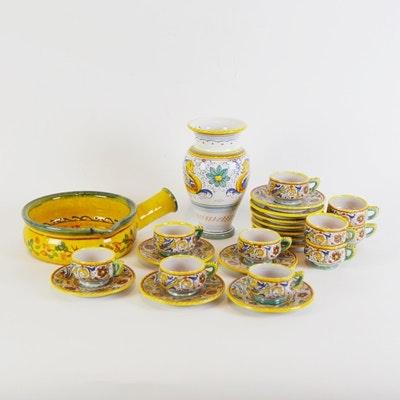 Hand-Painted Deruta Italian Espresso Cups with Serveware