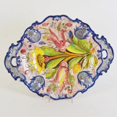 Vintage Floral Two Finger Handle Serving Bowl